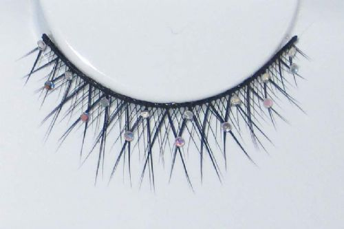 Eyelash Eye Lash set Glitter Crossed Black